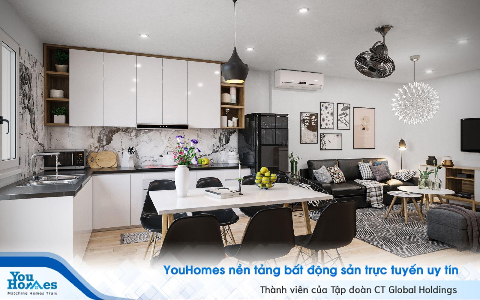 Công thức màu đen trắng sẽ làm cho phòng khách liền bếp cực kỳ hiện đại và ấn tượng.