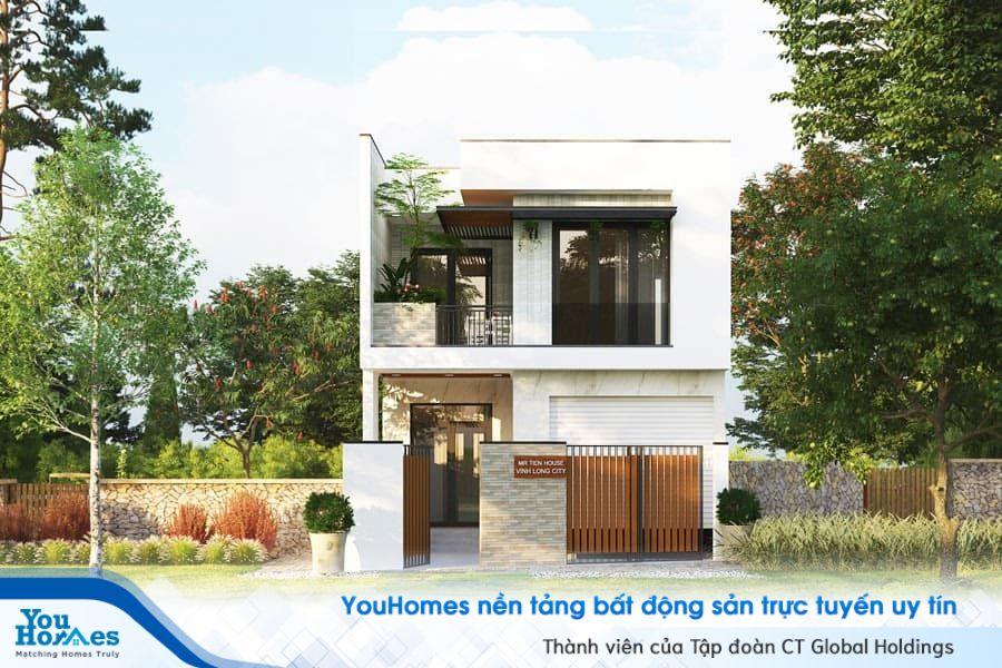 Khối bê tông tầng 2 được đua rộng ra so với tầng 1 giúp cho diện tích được mở rộng cũng như tạo điểm nhấn độc đáo cho ngôi nhà