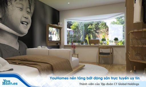 Giường ngủ tích hợp sofa phía cuối giường cho nhà nhỏ hẹp.