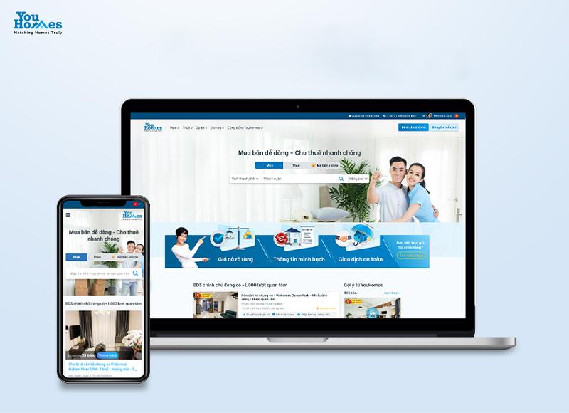 Giao diện website và app YouHomes.vn.