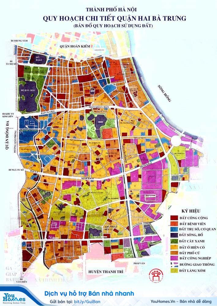 Bản đồ quy hoạch chi tiết quận Hai Bà Trưng, Hà Nội.