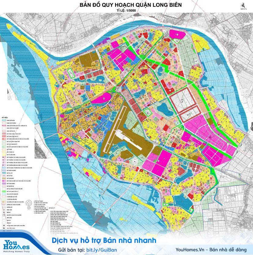 Bản đồ quy hoạch chung xây dựng quận Long Biên.