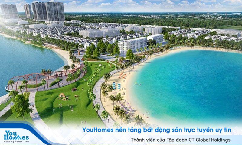 Thành phố biển hồ Vinhomes Ocean Park với điểm nhấn hồ trải cát trắng 24,5 ha.