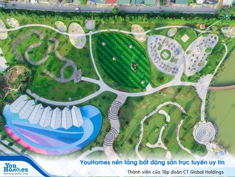Công viên thể thao của dự án Vinhomes Smart City nhìn từ trên cao.