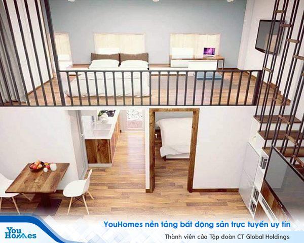 Phòng ngủ và phòng làm việc được bố trí biệt lập giúp căn nhà dù nhỏ hẹp vẫn đầy đủ tiện nghi.