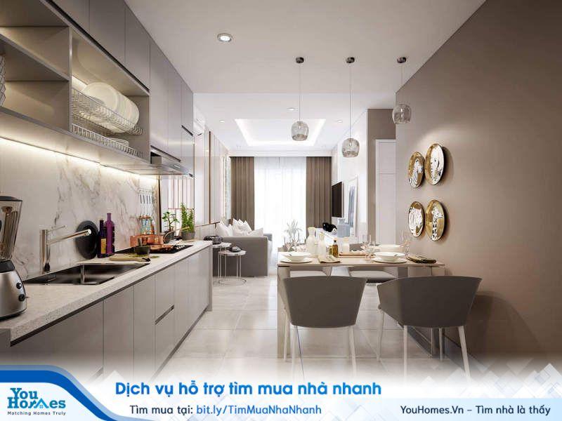 Phòng khách và phòng bếp với 2 tông màu trắng, xám kết hợp hài hòa, sang trọng