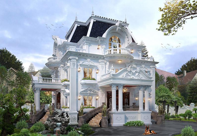 Sân vườn rộng sẽ giúp tôn lên vẻ đẹp cảu căn biệt thự....