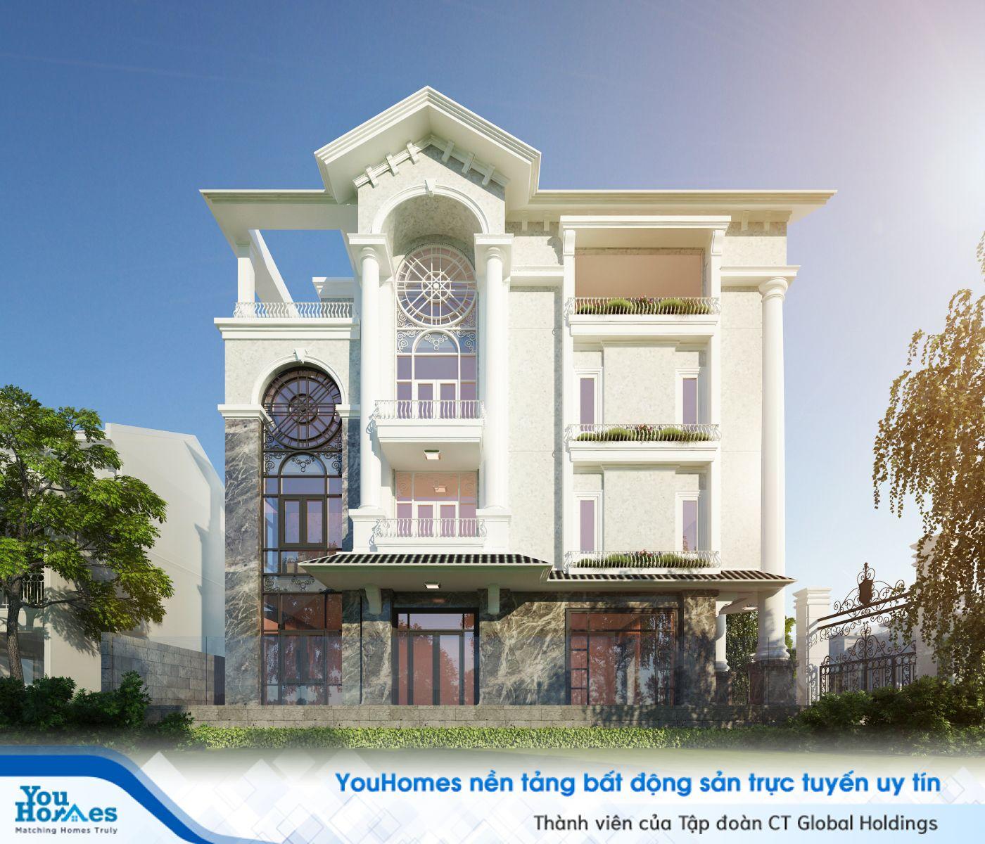 Biệt thự 3 tầng với thiết kế cửa sổ cổ điển và nổi bật...