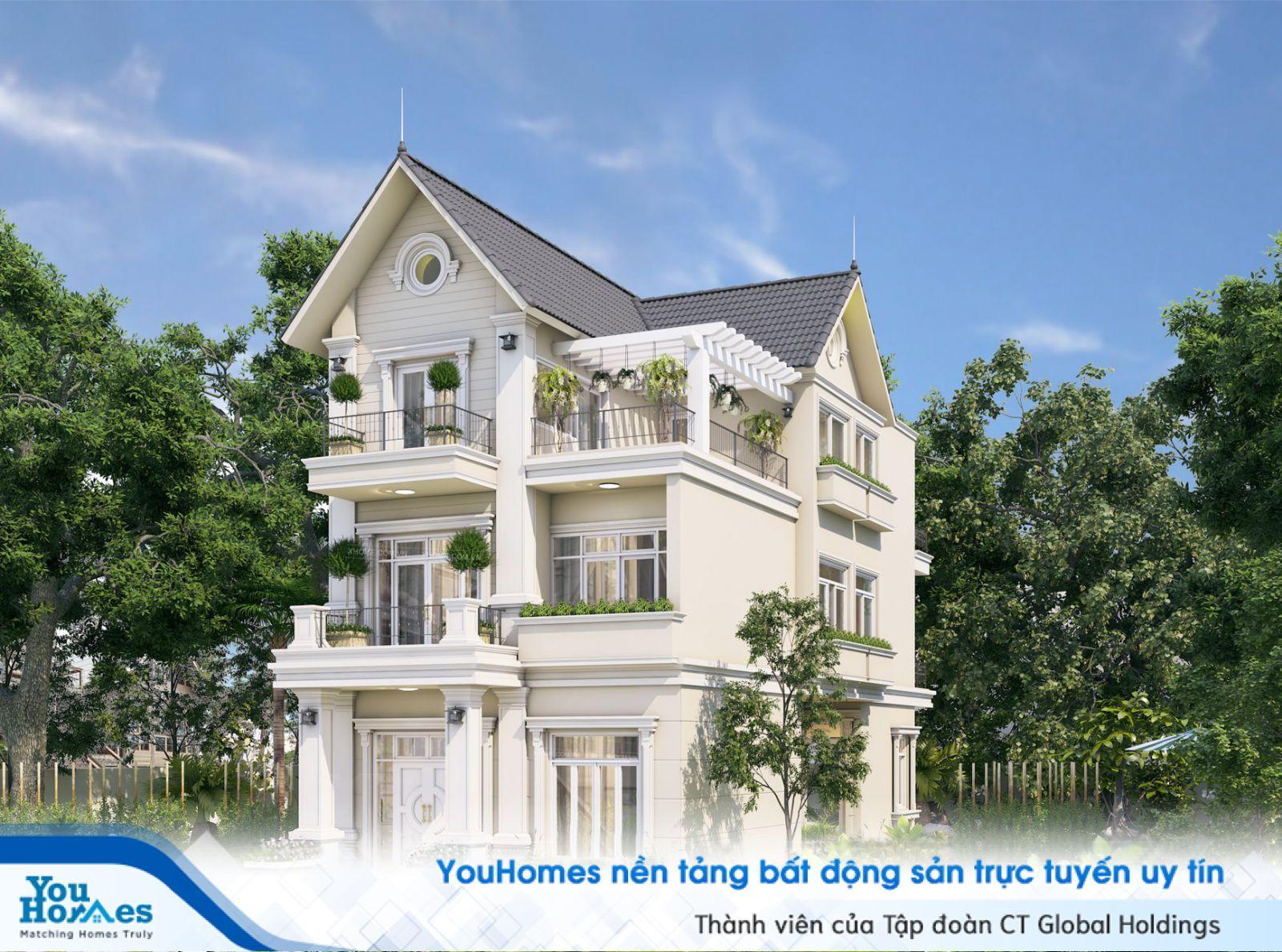 Biệt thự 3 tầng màu trắng pha chút màu hiện đại...