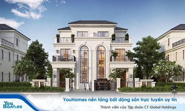 Biệt thự 3 tầng cổ điển với những ô cửa sổ cân xứng...