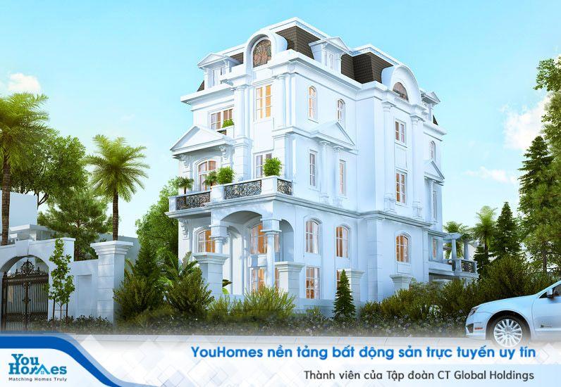 Mẫu biệt thự 3 tầng với phần tầng 1 được thiết kế trần cao sang trọng...