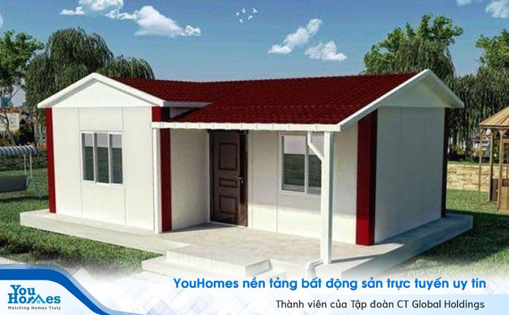 Mẫu nhà mái tôn đỏ xinh xắn và nhỏ gọn.