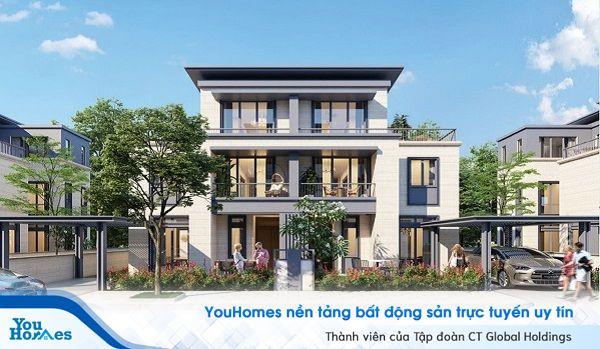 Biệt thự song lập thiết kế hiện đại với không gian mở tạo ra một không gian sống tuyệt vời.