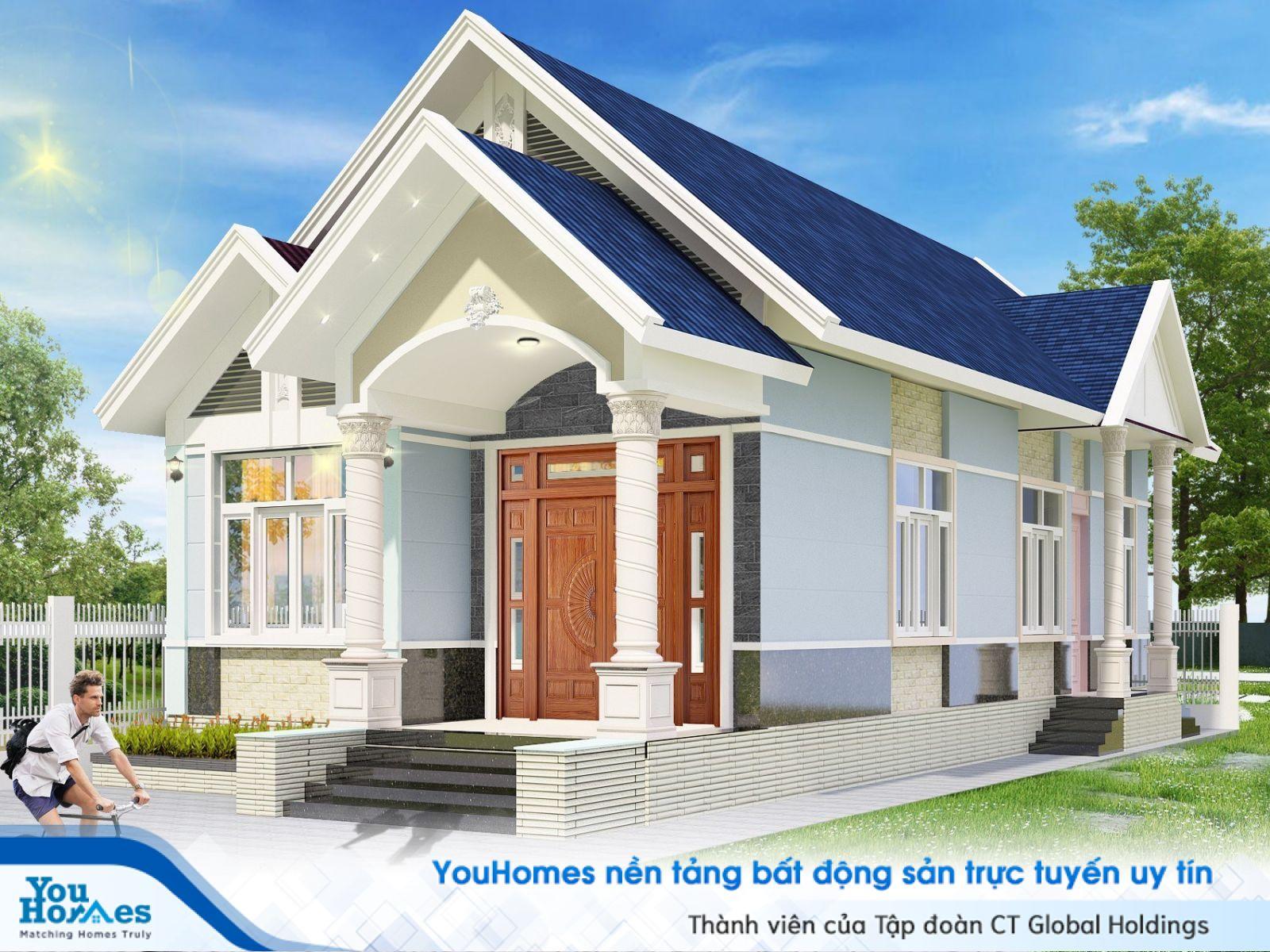 Phối cảnh tổng thể mẫu nhà cấp 4 mái thái 6x12m ở nông thôn 3 phòng ngủ 600 triệu đồng.