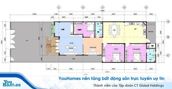 Bản vẽ thiết kế mẫu nhà cấp 4 mái thái 100m2 – 3 phòng ngủ - 700 triệu đồng.