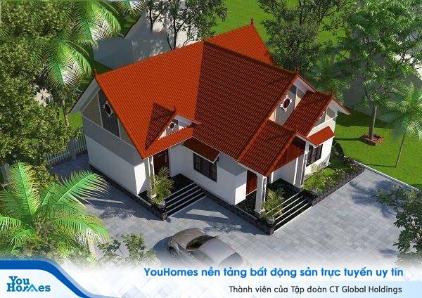 Phối cảnh tổng thể mẫu nhà cấp 4 mái thái 150m2 – 3 phòng ngủ - 1.1 tỷ đồng.