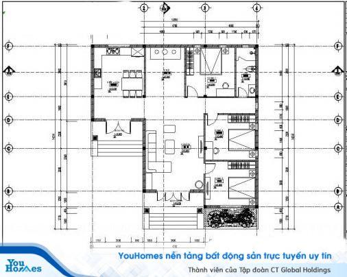 Bản vẽ thiết kế mẫu nhà cấp 4 mái thái 150m2 – 3 phòng ngủ - 1.1 tỷ đồng.