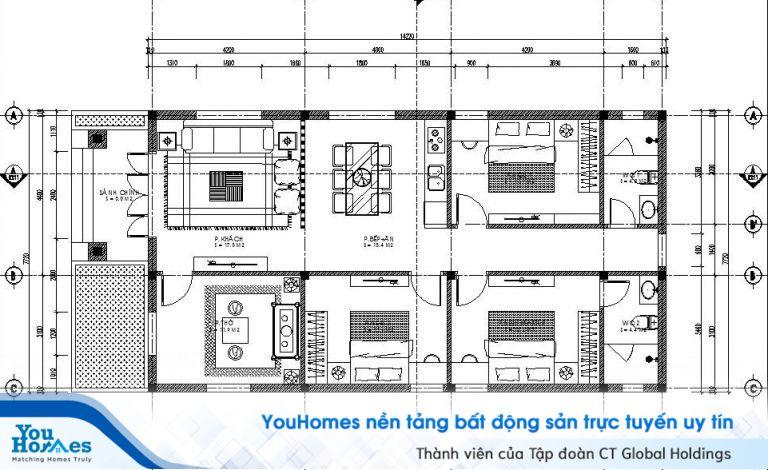 Bản vẽ thiết kế mẫu nhà cấp 4 mái thái 6x12m ở nông thôn 3 phòng ngủ - 600 triệu đồng.