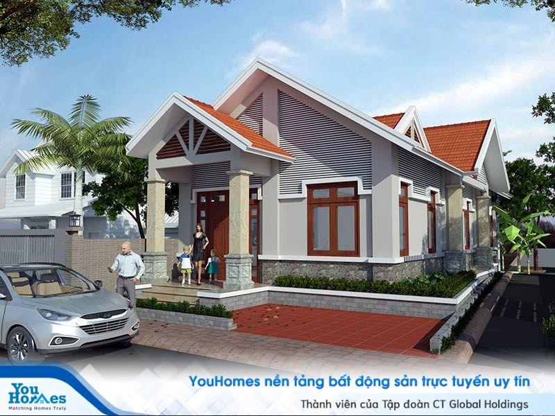 Tổng quan mẫu nhà cấp 4 mái thái 100m2 – 3 phòng ngủ - 1 tỷ đồng.