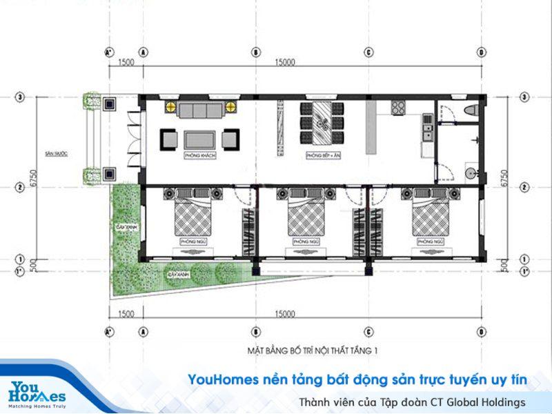 Bản vẽ thiết kế mẫu nhà cấp 4 mái thái 100m2 – 3 phòng ngủ - 1 tỷ đồng.