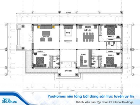 Bản vẽ thiết kế mẫu nhà cấp 4 mái thái 120m2 – 3 phòng ngủ - 1.1 tỷ đồng.