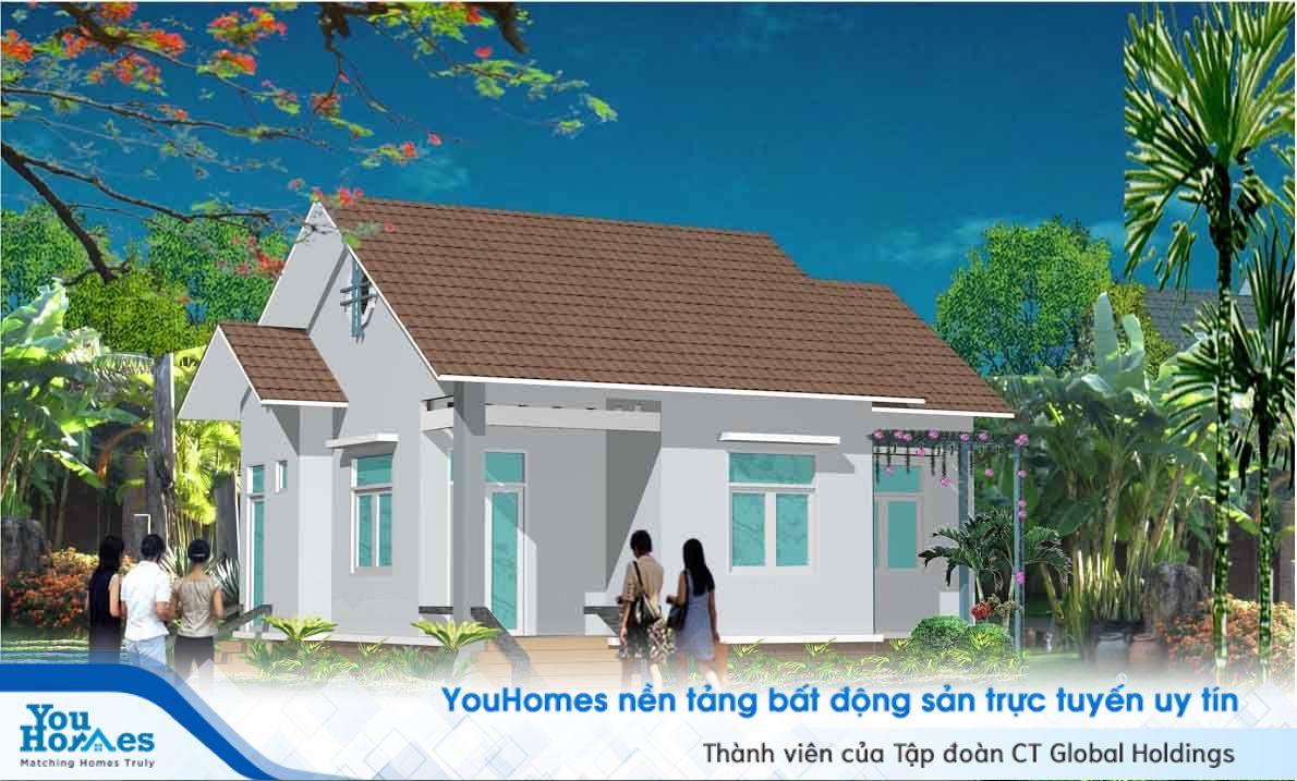 Nhà cấp 4 nông thôn rất phù hợp với thiết kế mái thái.
