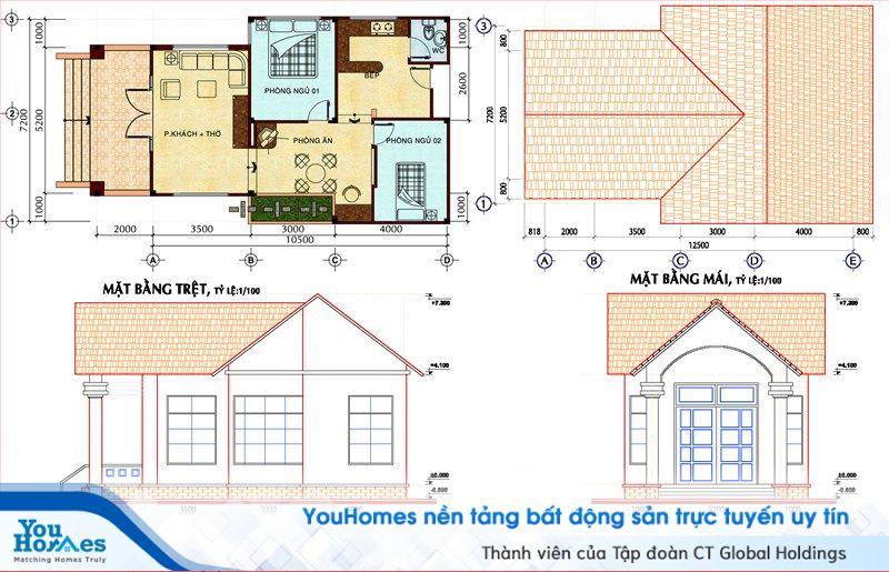 Thiết kế cực kỳ phù hợp với lối sống và thói quen tại nông thôn Việt Nam với phòng khách và phòng thờ được thiết kế chung 1 không gian.
