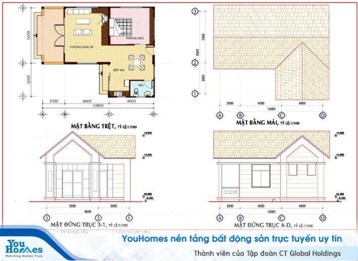Thiết kế nhà cấp 4 chữ L với 1 phòng ngủ.