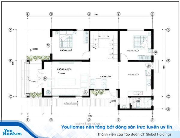 Bản vẽ thiết kế tầng 1 của ngôi nhà.