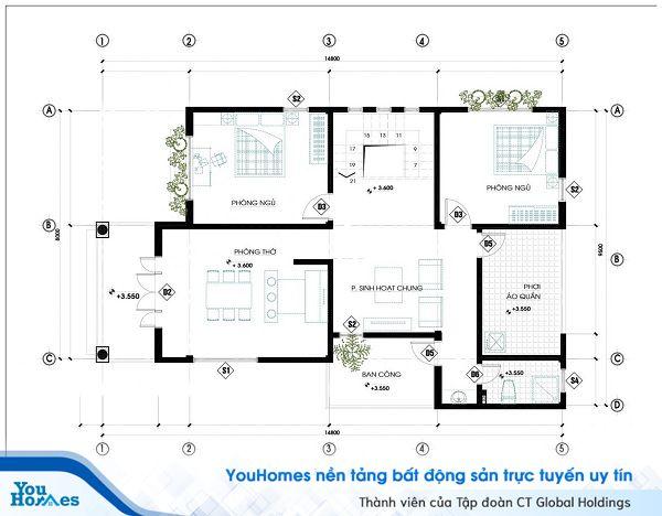 Bản vẽ thiết kế tầng 2 của ngôi nhà.