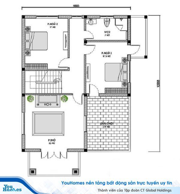 Bản vẽ thiết kế tầng 2 mấu nhà 2 tầng 4 phòng ngủ mái thái.