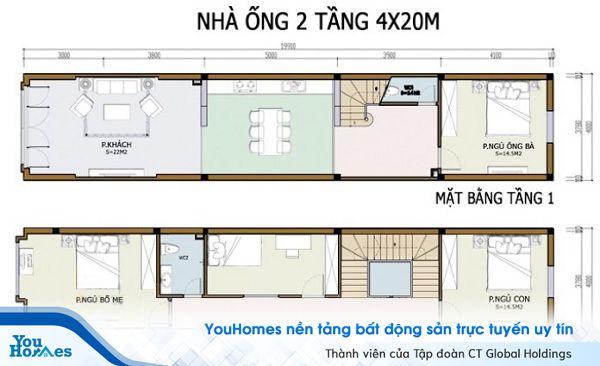Mẫu bản vẽ thiết kế nhà 2 tầng 4 phòng ngủ mái bằng.