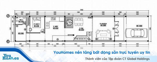 Tầng 1 của ngôi nhà được thiết kế vô cùng khoa học và tiện nghi.