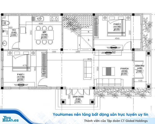 Tầng 1 được thiết kế với đầy đủ các công năng cần thiết như phòng ăn, 2 phòng ngủ, 1 phòng vệ sinh.