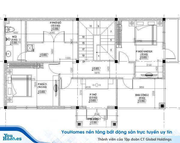 Bản thiết kế tầng 2 mẫu nhà 2 tầng 4 phòng ngủ tiện nghi.