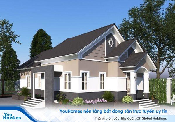 Mẫu nhà 2 mặt tiền 1 tầng mái thái hiện đại.