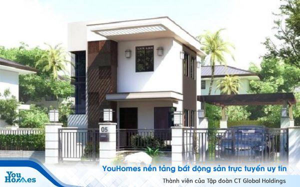 Mẫu nhà 2 tầng mái bằng thiết kế đơn giản, chi phí thấp.