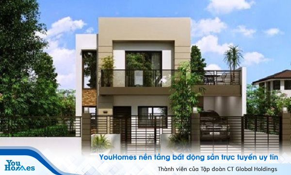 Mẫu nhà 2 tầng mái bằng không gian mở thoáng mát.