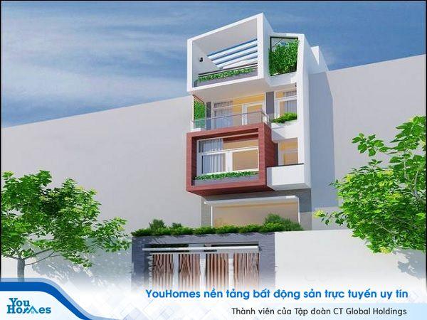 Mẫu nhà 2 tầng có gác lửng thiết kế nhiều màu sắc và hình khối độc đáo.