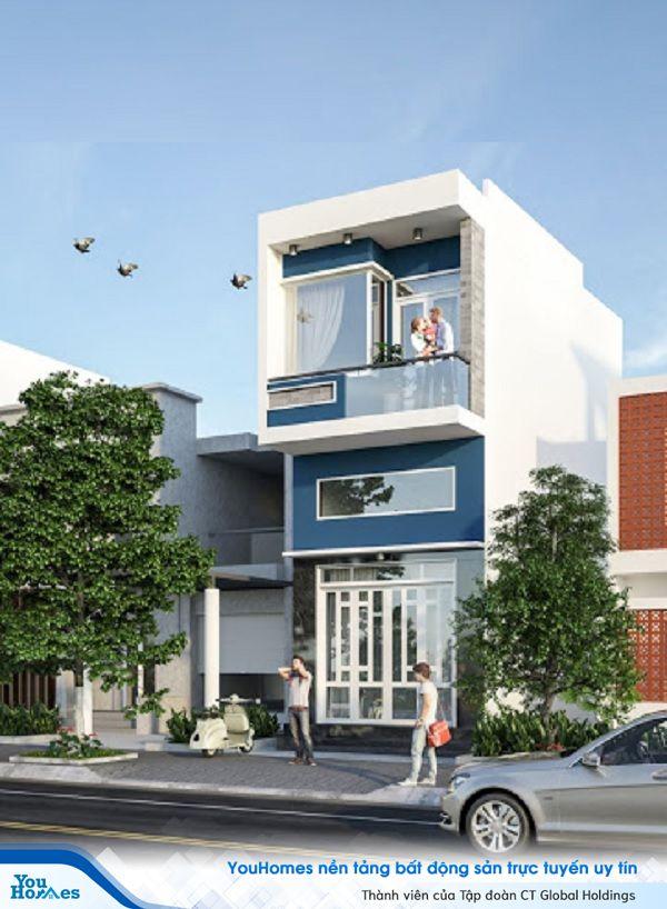 Mấu nhà 2 tầng có gác lửng này phù hợp với những gia chủ sở hữu mặt tiền rộng. Sắc xanh hiện đại nổi bật trên nền trắng của ngôi nhà. Gia chủ có thể thiết kế thêm giếng trời để không gian bên trong thêm sáng sủa hơn.