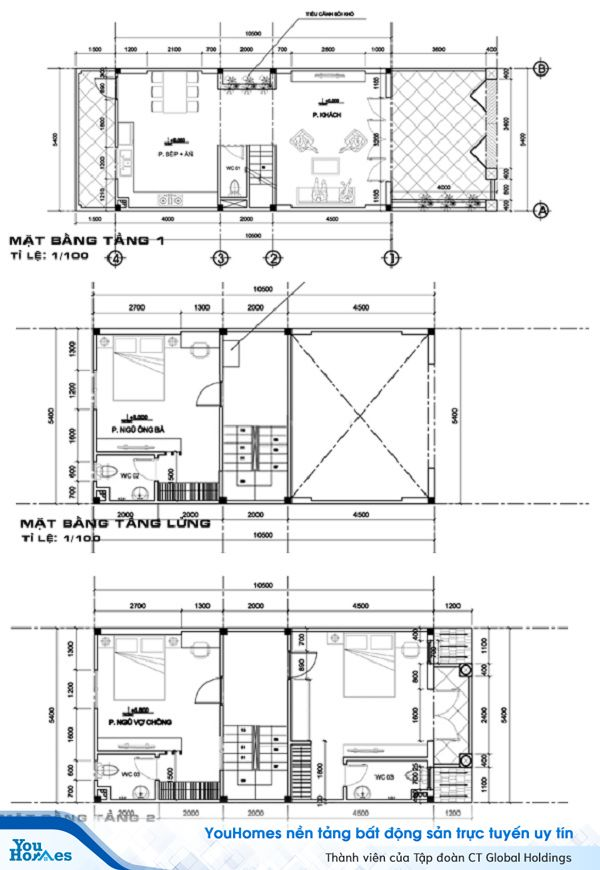 Bản vẽ thiết kế mẫu nhà 2 tầng mái thái có gác lửng.