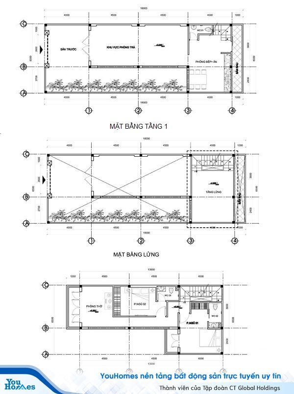 Thiết kế mặt bằng mẫu nhà 2 tầng mái thái có gác lửng dáng chữ L.