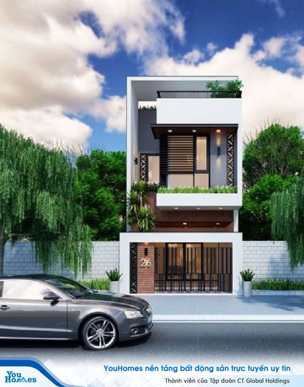 Mẫu nhà 2 tầng có gác lửng thiết kế đơn giản, hiện đại.