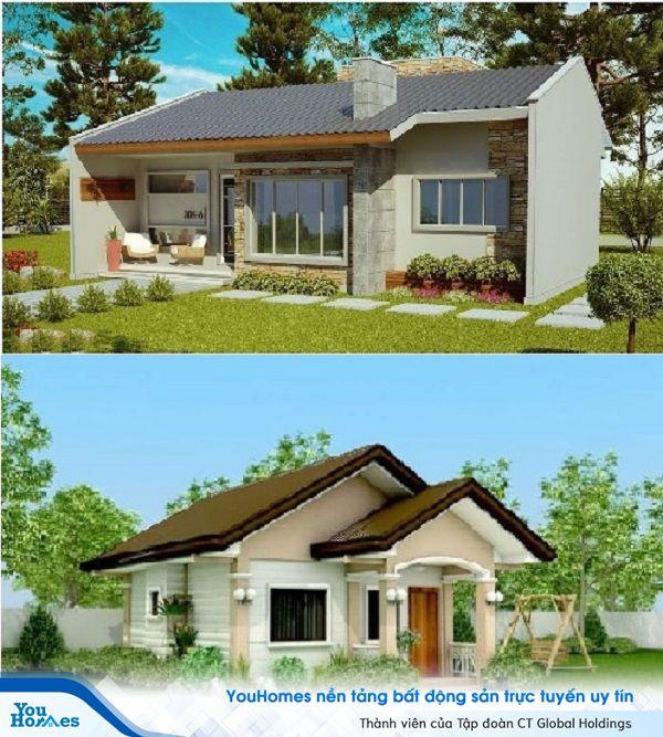 Lối đi nhỏ giữa không gian xanh tươi của sân cỏ dẫn vào ngôi nhà vườn 1 tầng mái thái.