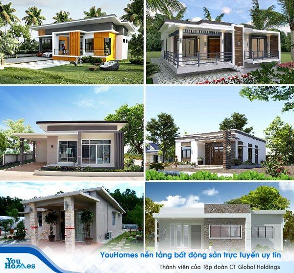 Thiết kế mái bằng đơn giản mang đến không gian sống tiện nghi cho mẫu nhà vườn.
