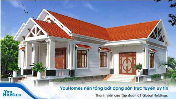 Mẫu nhà cấp 4 3 phòng ngut mái thái thiết kế chữ L với mái ngói đỏ gần gũi, nổi bật và thân thuộc với những mẫu nhà cấp 4 truyền thống.