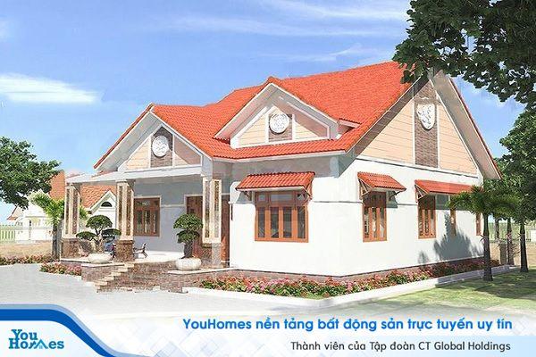 Mẫu nhà cấp 4 mái thái 3 phòng ngủ được thiết kế kiểu nhà vườn.