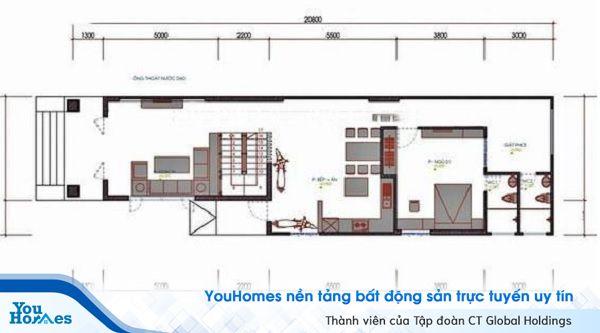 Những khu vực chức năng được thiết kế tạo tầng trệt.