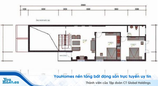 Bản vẽ thiết kế gác lửng của ngôi nhà.