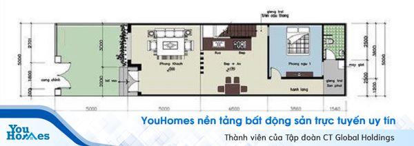 Phòng ngủ, nhà vệ sinh và sân phơi được bố trí ở phía sau đảm bảo sự riêng tư.
